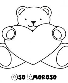 Dibujo de un oso amoroso para colorear con niños
