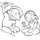 Dibujo para imprimir y colorear de niños jugando con avión