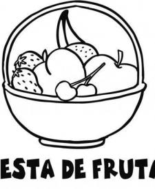 Dibujo de cesta de frutas para colorear con niños.