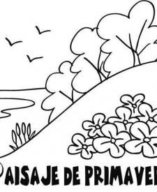 Dibujo de paisaje en primavera para colorear con los niños