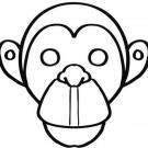 Careta de mono para colorear. Dibujos de Carnaval para niños