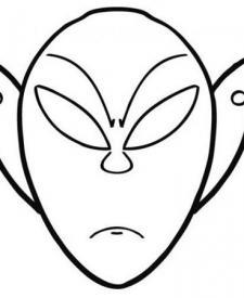 Dibujo de una careta de alien para colorear con los niños en Carnaval