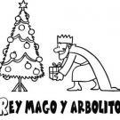 Dibujo de árbol de Navidad y Rey Mago para niños