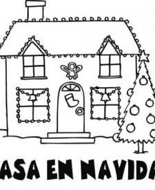 Dibujos De Una Casa Adornada En Navidad Para Colorear