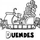 Duendes cargando el trineo con regalos. Dibujos de Navidad