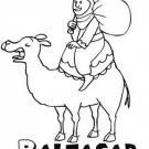 Dibujo de Rey Baltasar sobre su camello para niños