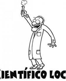 Dibujo para imprimir y colorear de científico loco