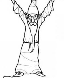 Dibujo infantil de brujo para colorear con niños