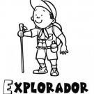 Dibujo de un explorador, imágenes infantiles de empleos