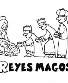 Dibujo Para Colorear Con Los Niños De Los Reyes Magos