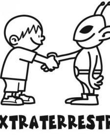 Niño y extraterrestre