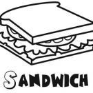 Sandwich para colorear, dibujos de alimentos para pintar con niños