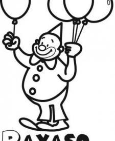 Dibujo de payaso con globos para colorear con los niños