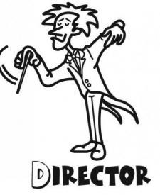 Dibujo para imprimir y pintar de un director de orquesta