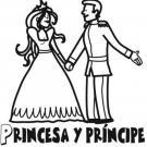 Dibujo de princesa y príncipe para colorear