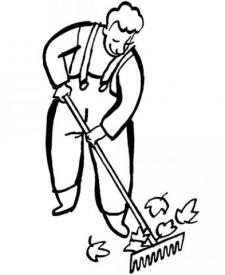 Dibujo de un jardinero en otoño para imprimir y colorear