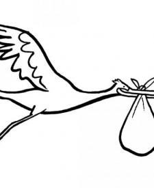 Dibujos infantiles de una cigüeña para colorear por los niños