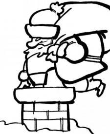Dibujo de Papá Noel entrando en la chimenea para niños