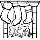 Calcetines en la chimenea. Dibujos para colorear