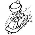 Niño montando en trineo. Dibujo de Navidad