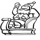 Dibujo gratis de Navidad para colorear con Papá Noel en trineo