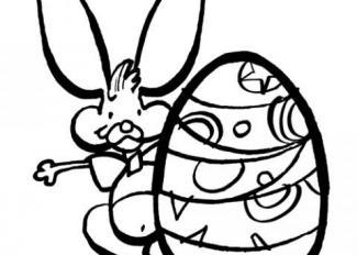 Dibujo para colorear de huevo y conejo de Pascua