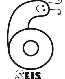 Dibujo del número seis para pintar con los niños