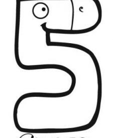 Dibujo del número cinco para colorear con los niños