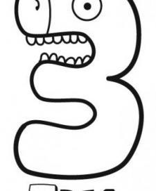 Dibujo del número 3 con cara de cocodrilo para colorear