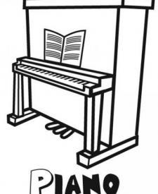 Dibujo para pintar un piano, instrumentos musicales para niños