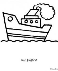 Dibujos gratis de un barco con chimenea para colorear