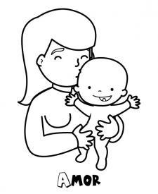Mamá con su bebé. Dibujo para pintar con los niños
