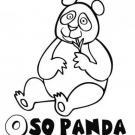 Dibujo para colorear con los niños de un oso panda con hojas de bambú