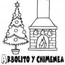 Árbol de Navidad y chimenea. Dibujos para colorear con los niños