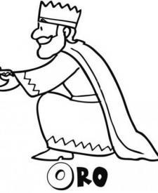 Rey Melchor regalando oro. Dibujo para niños