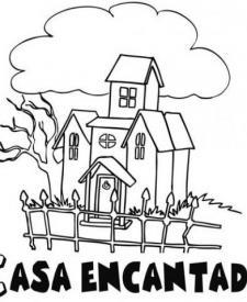 Dibujos infantiles de Halloween. Casa encantada