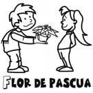 Dibujo de un niño regalando una flor de Pascua