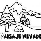 Dibujo para colorear con los niños de un paisaje nevado