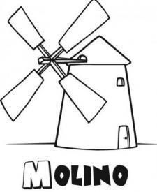 Dibujo de molino de viento para imprimir y colorear con los niños