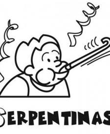 Dibujo de serpentinas para imprimir y colorear con niños en Carnaval
