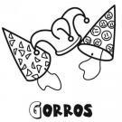 Dibujo de gorros de Carnaval para colorear con los niños