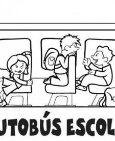 Dibujos para colorear de niños en autobús escolar