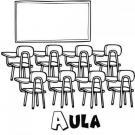 Dibujos de un aula del colegio para colorear