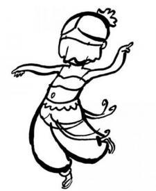 Dibujo para pintar con niños en Carnaval de un disfraz de bailarina