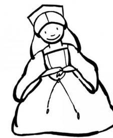 Dibujo para colorear con niños de un disfraz de princesa de cuento