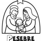 Dibujo del pesebre en Navidad con el Niño Jesús