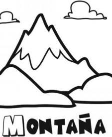 Dibujo de una montaña para pintar. Dibujos de la naturaleza