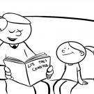 Dibujo para colorear de un papá leyendo un cuento a una niña