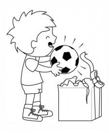 Niño abriendo un regalo. Dibujos para pintar