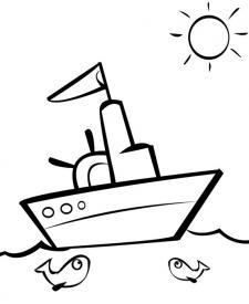 Barco navegando en un día soleado para imprimir y colorear